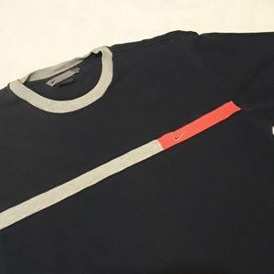 Vtg Nike Color Stripe Classic Swoosh S/L Tee L